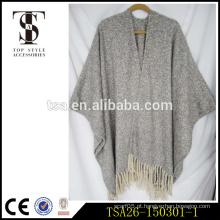 Oversized cinza e branco loop fios chunky sexy lã cape xale para chritmas presente