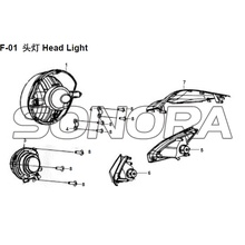 F-01 Cabeça Light XS150T-8 CROX Para SYM Spare Part Top Quality