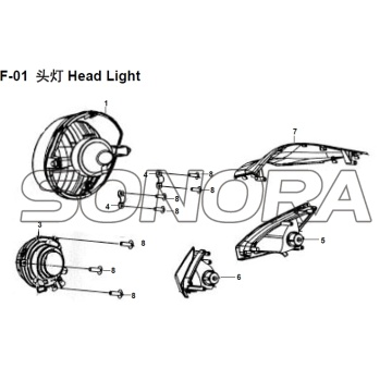 F-01 Head Light XS150T-8 CROX per SYM Spare Part Top Quality