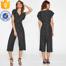 Black And White Pinstripe Tie Waist Jumpsuit OEM/ODM Manufacture Wholesale Fashion Women Apparel (TA7009J)