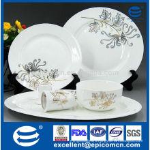 golden daisy painted on new bone china dinnerware set