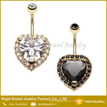 Anel Banhado a Ouro CZ Belly Ring / Black Clear Navel Ring