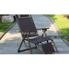 Durable Rattan Lay Chair/Outdoor High Back Rattan Chair /Fold able Armrest Chair with Pillow and Armrest