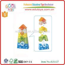 Juguete de seguridad infantil de forma coincidente apilado bloques de madera de color para bebé de más de 18 meses