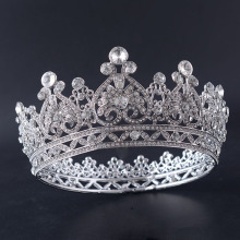 Silver Plated Rhinestone Round Pageant Crown Party