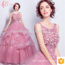 marine flower girl long trains puffy pink ball gown evening dresses