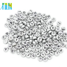 Fashion silver plate with black letter alphabet beads 4*7mm oval round beads