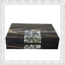 Black mother of pearl shell and wooden jewelry box