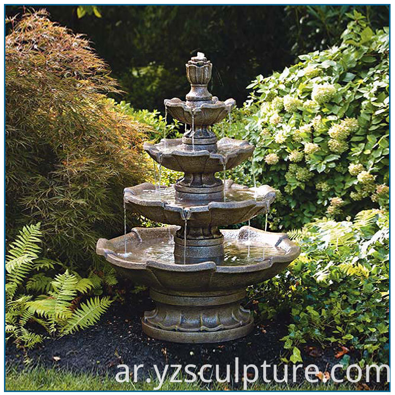 bronze tiered water fountain