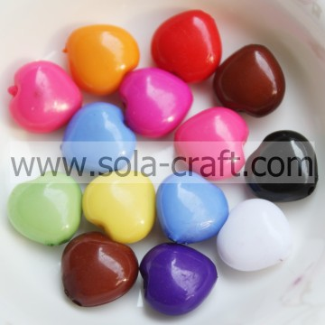 12MM colore solido misto acrilico cuore fascino perline Pattern