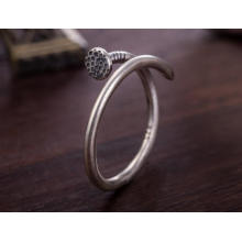 925 Sterling Silber Nagel Form Ring Unisex halb offenen Design
