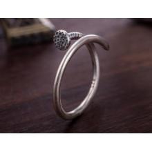 Projeto aberto unisex do anel da forma do prego da prata 925 esterlina