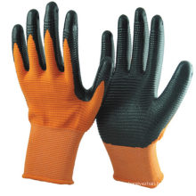 Anti Oil 13G Orange Nylon/Polyester U3 Style Liner  Coating Hand Protection Gloves