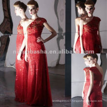 NY-2572 Hot Red Full Sequins Lace Long Pageant Dress