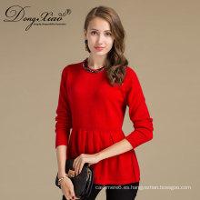 Jersey hecho punto plano de las lanas del color rojo de la manga larga del cuello redondo para la fábrica de China