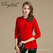 Round Neck Long Sleeve Flat Knitted Red Color Woman Wool Sweater For China Factory