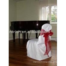 couverture de chaise de polyester 100 %, couverture de chaise de banquet/hôtel, ceinture d'organza rouge