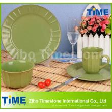 Vajilla de cena de gres verde Eco Ware de 16 piezas
