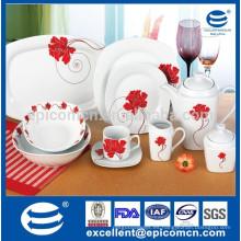Platos de cena del restaurante al por mayor del uso diario 47pcs con una flor grande del centro