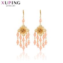 29003 Xuping joyas de oro indio borlas diseño perla rosa diseño de flor pendientes de gota de oro