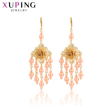 29003 Xuping indian gold jewelry tassels design pearl rose flower design gold drop earrings