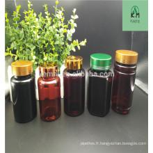 Bouteille en plastique / bouteille en plastique de haute qualité de 120cc avec bouchon de couleur