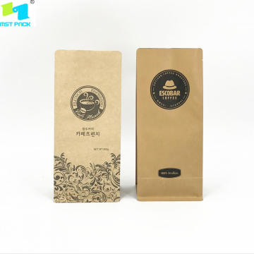 Kraft Paper Coffee Packaging Bag med ventil