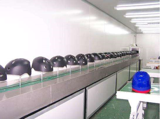 automatic helmet spray line