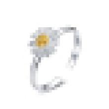 Anillo de apertura de crisantemo de plata de ley 925 para mujer