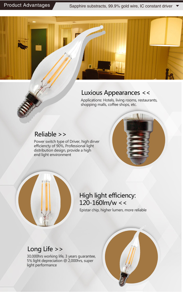 C35T-4 led filament technology light bulbs