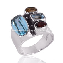 Natural Blue Topaz with Citrine & Garnet Gemstone Handmade Silver Ring Jewelry