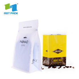 Papel de aluminio Foil Side Gusset Quad Seal Coffee packaging