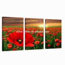 Arte rojo de la lona de la flor / arte de la pared de la impresiones en lienzo estiradas