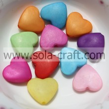 6*13*14MM Frosted Colorful Acrylic Plastic Heart Charm Beads Pattern