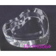 Cendrier en cristal clair en forme de coeur, ensemble de fumeurs en verre (JD-YG-007)