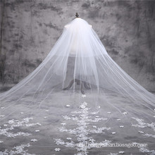2017 Gorgeous Princess Church Wedding Veils Long Lace