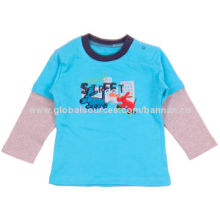 Baby T-shirt with chest print and embroidery