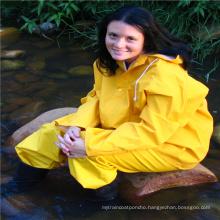 Outdoor heavy duty polyester raincoat