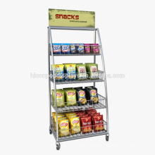 Custom Snacks Retail Store Freestand 4-Caster Metal Movable Dry Food Potato Chips Display Shelves