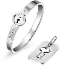 Bracelet en acier inoxydable à verrouillage au coeur et bijoux pendentifs clés