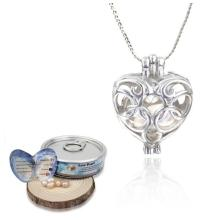 Love Wish Pearl Heart Cage Pendants