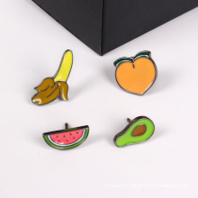 Set Fruit Brooch with Peach, Pear, Watermelon and Banana