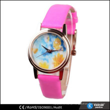 popular leather strap lady watch with floral watch dial