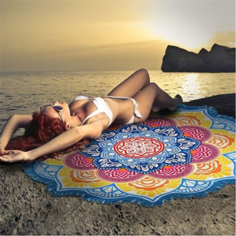 Large printed round beach towel