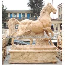 Каменная мраморная статуя лошади Животное для садовой скульптуры (SY-B116)