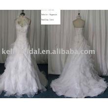 Venta al por mayor superior proveedor de organza una línea de vestido de novia