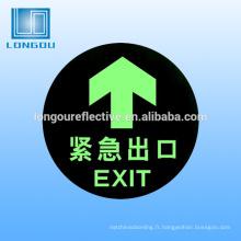 autocollant de sécurité fluorescent pvc de papier toilette lueur dans le signe sombre pour les panneaux lumineux de sécurité d'avertissement