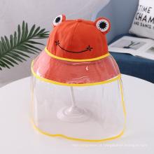 Chapéu anti-gotículas de sapo laranja para crianças