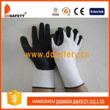Doublure en nylon blanc. PU noir enduit sur la paume / doigt. Gant de poignet en tricot (DPU416)
