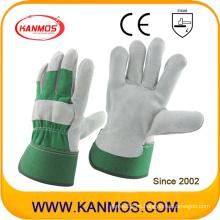 Verde vaca de seguridad industrial cuero de trabajo dividido guantes (110093)